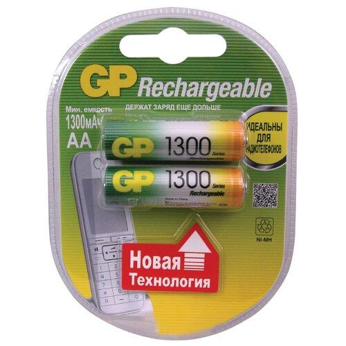 Аккумулятор Ni-Mh 1300 мА·ч GP Rechargeable 1300 Series AA 2 шт блистер аккумулятор ni mh 2700 ма·ч эра c0038458 2 шт блистер
