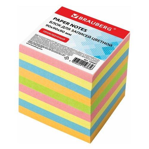 Купить BRAUBERG блок для записей проклеенный 9х9х9 см (129207) желтый/розовый/голубой, Бумага для заметок