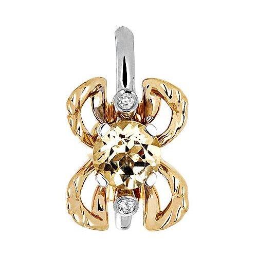 Эстет Подвеска с гелиодором и бриллиантами из комбинированного золота 01П669681Ж