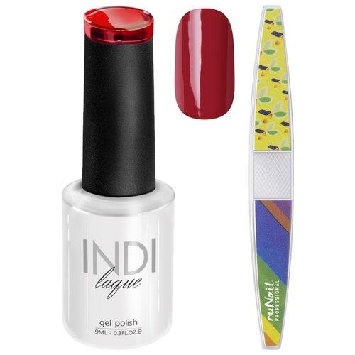 Набор для маникюра Runail пилка для ногтей и гель-лак INDI laque, оттенок 3475 набор для нейл арта пилка для ногтей runail professional гель лак indi laque тон 3708 9 мл