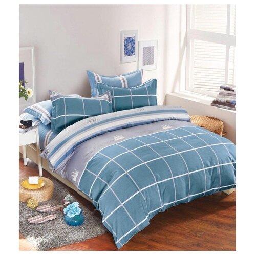 Постельное белье 1.5-спальное Boris Dense BORD018 сатин голубой/ серыйКомплекты<br>