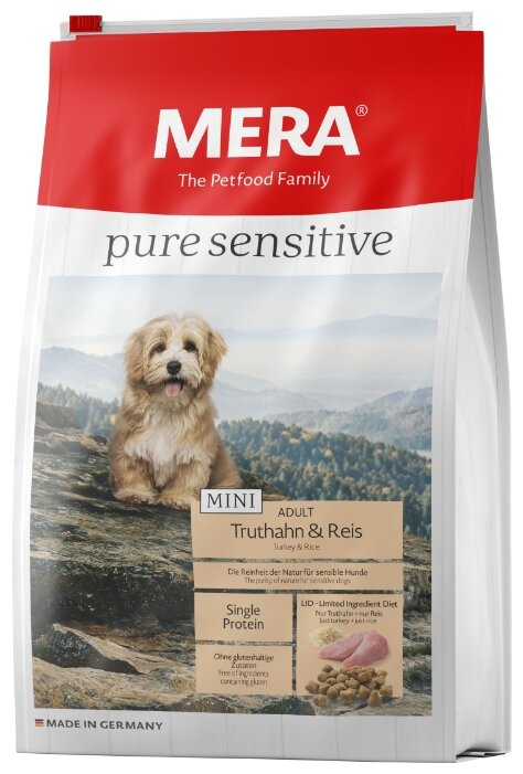 Корм для собак Mera Pure Sensitive Mini с индейкой и рисом для взрослых собак