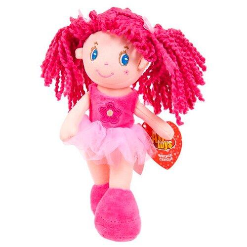 Мягкая игрушка ABtoys Кукла с розовыми волосами в розовой пачке 20 см