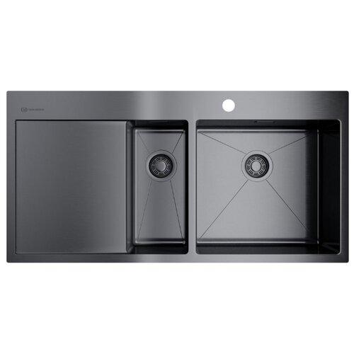 Накладная кухонная мойка 100 см OMOIKIRI Akisame 100-2-GM-R 4973104 вороненая сталь