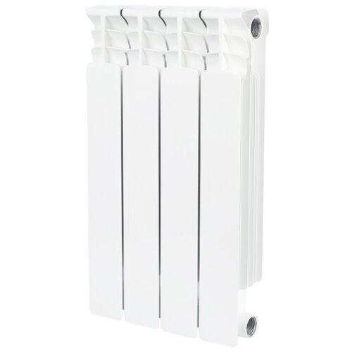 Радиатор секционный биметаллический STOUT Space 500 x4 4 секций, подключение универсальное боковое RAL 9016 секционный радиатор stout space 500 биметаллический srb 0310 050009 белый 9 секций