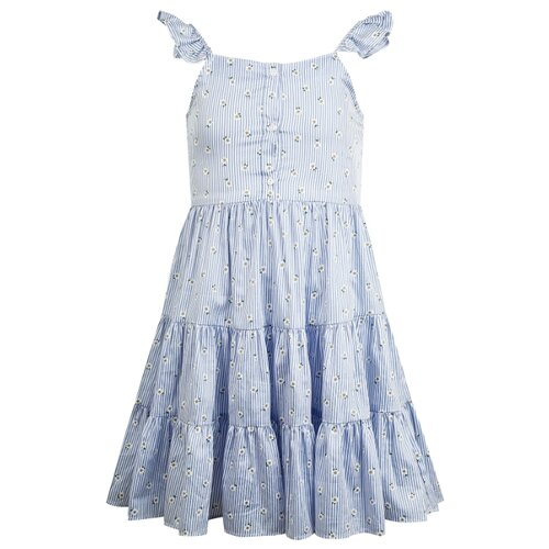 Купить Сарафан Mayoral размер 128, полоска/голубой/белый, Платья и сарафаны