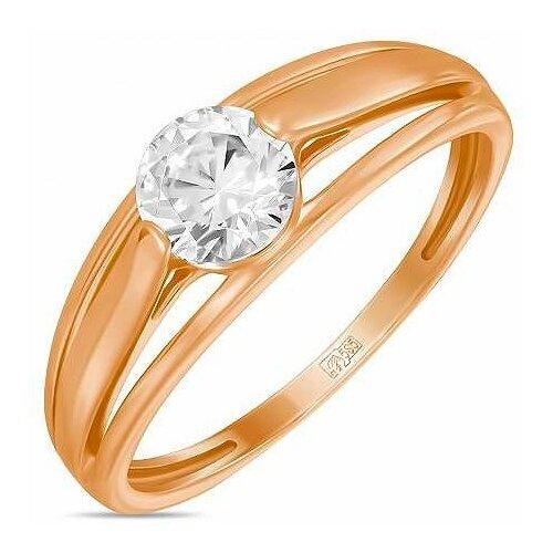 ЛУКАС Кольцо с 1 фианитом из красного золота R01-Z-59888-Z, размер 19 фото