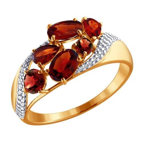 SOKOLOV Кольцо из золота с гранатами и фианитами 713700, размер 19
