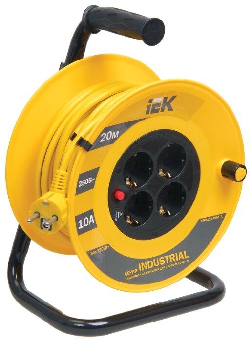 IEK Удлинитель на катушке 4х20м с заземл. 10А IP20 УК20 Industrial с термозащ. 3х1