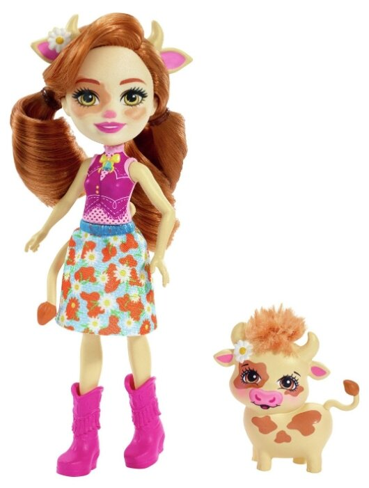 Кукла Enchantimals Кейли Коровка с питомцем, 15 см, FXM77 — купить по выгодной цене на Яндекс.Маркете