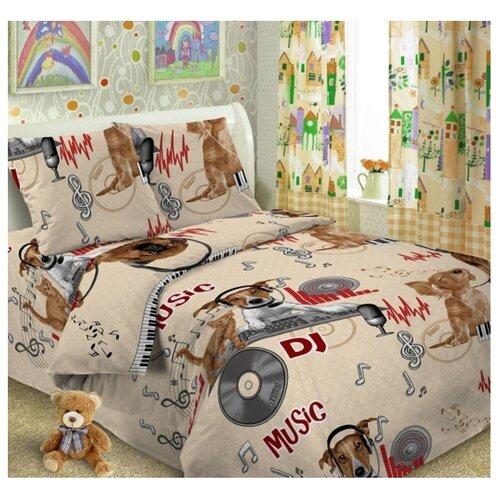 Постельное белье 1.5-спальное Letto Собака диджей 50х70 см, перкаль цена 2017