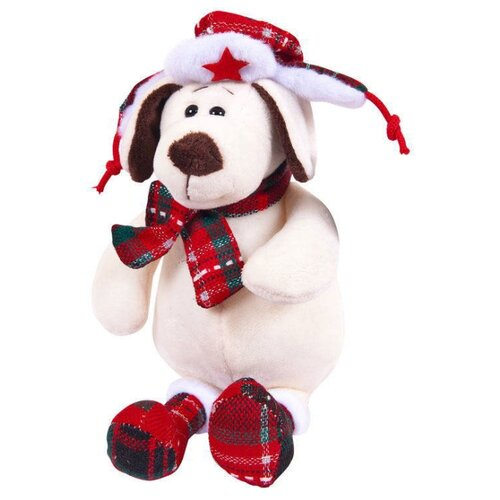 Мягкая игрушка ABtoys Собака в ушанке с шарфом 24 см
