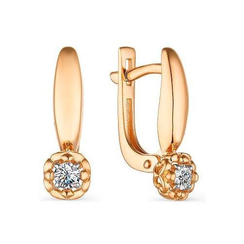 АЛЬКОР Серьги с 2 бриллиантами из красного золота 23569-100