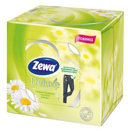 Салфетки косметические ZEWA DELUX Ромашка, 3-слойные, 60 листов, кубик