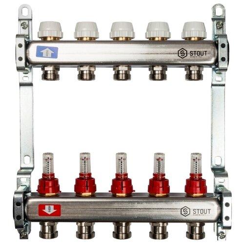Коллекторная группа STOUT (SMS 0917 000005) 1 ВР, 5 отводов 3/4, расходомер коллекторная группа royal thermo в сборе с расходомерами 1 вр 3 4 нр 9 выходов нержавеющая сталь rte 52 109