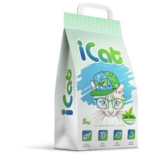 Комкующийся наполнитель iCat с ароматом зеленого сада, 5 кг icat наполнитель комкующийся белый для туалета кошек с ароматом детской присыпки 5 кг