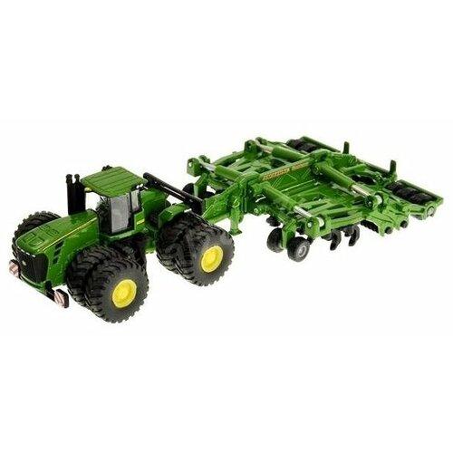 Трактор Siku John Deere 9630 с прицепом-плугом (1856) 1:87 22.6 см зеленый трактор экскаватор falk педальный с прицепом зеленый 225 см