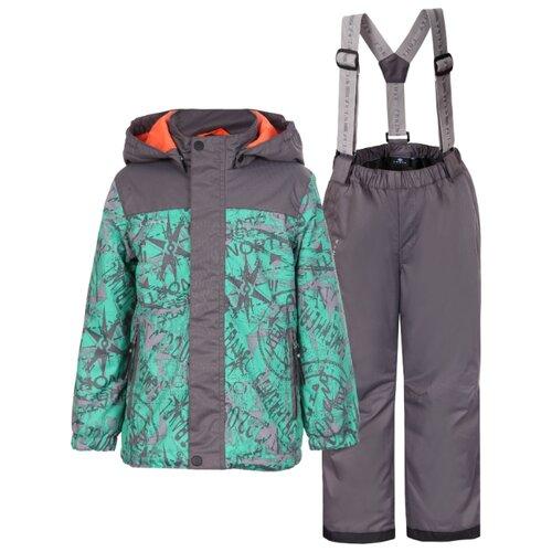 Комплект с брюками LUHTA 939033468 размер 98, зеленый/серыйКомплекты верхней одежды<br>
