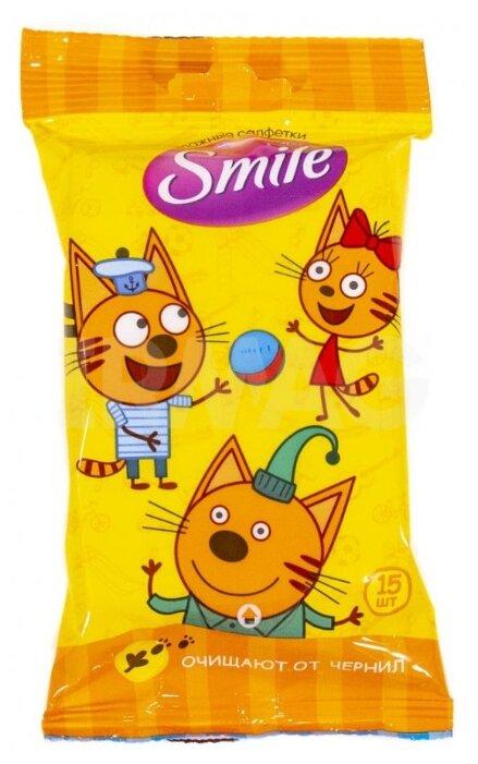 Влажные салфетки Салфетки влажные Smile Baby 15шт три кота