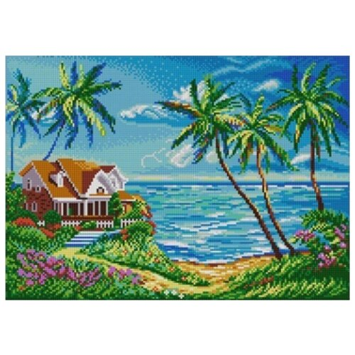 Купить Домик у океана (Рис. на сатене 29х39) 29х39 Конек 1351, Конёк, Канва