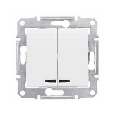 Выключатель 2х1-полюсный Schneider Electric SEDNA SDN0300321, 10А , белый