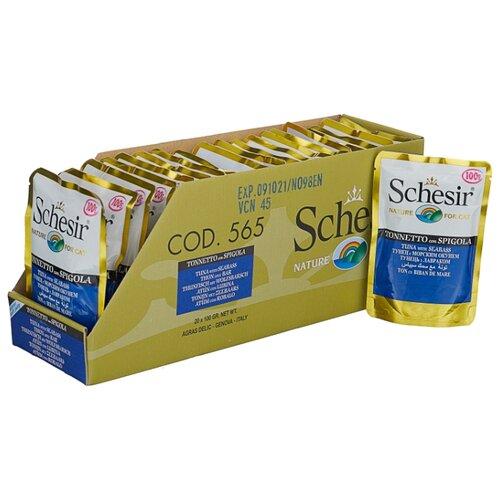 Корм для кошек Schesir (0.1 кг) 20 шт. Кусочки в желе. Тунец с морским окунем. Влажный корм для кошекКорма для кошек<br>