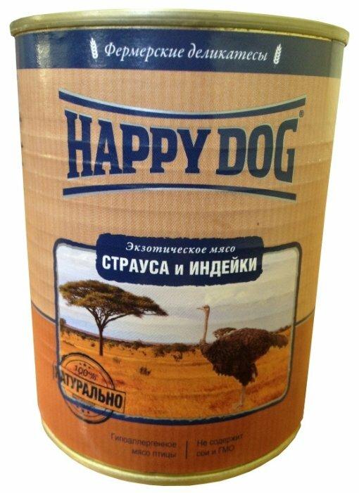 Корм для собак Happy Dog Фермерские деликатесы индейка, страус 350г