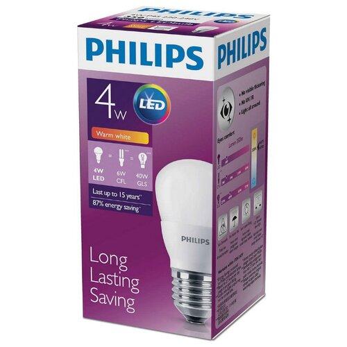 Лампа светодиодная Philips LED 3000K, E27, P45, 4Вт лампа светодиодная e27 4вт 220в 2200k 11681