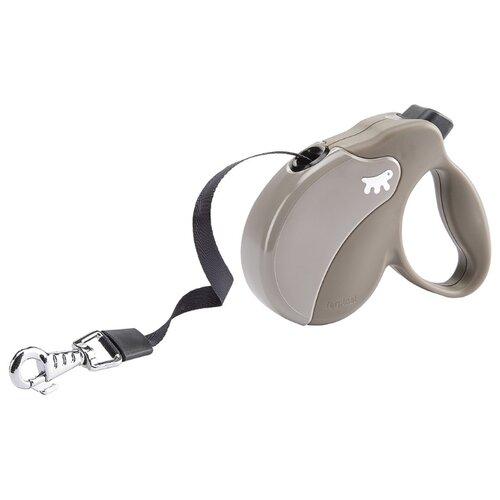 Поводок-рулетка для собак Ferplast Amigo tape S серый 5 м поводок рулетка для собак ferplast amigo tape s серый 5 м