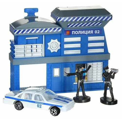 Купить ТЕХНОПАРК Полицейский участок 211225 синий/серый, Детские парковки и гаражи