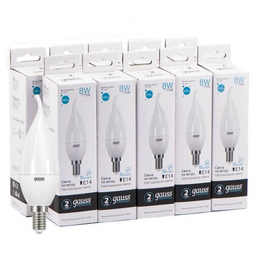 Упаковка светодиодных ламп 10 шт gauss 34128, E14, 8Вт упаковка светодиодных ламп 10 шт gauss 33228 e27 c37 8вт