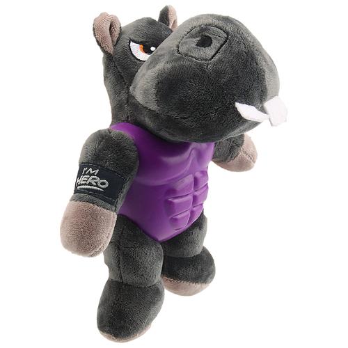 Фото - Игрушка для собак GiGwi I'm Hero Бегемот в защите (75452) серый/фиолетовый игрушка для собак gigwi push to mute сова 75322 фиолетовый