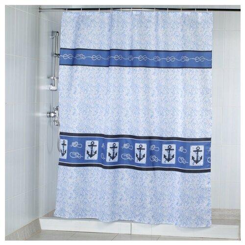 Штора для ванной Aquarius Якорь 180х200 белый/синий/голубой