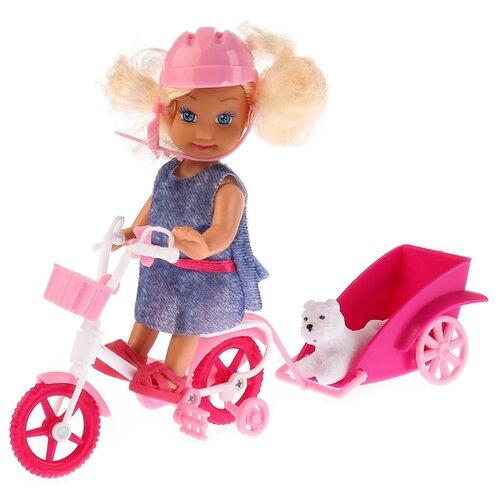 Купить Кукла Карапуз Машенька с велосипедом и питомцем, 12 см, MARY016X-RU, Куклы и пупсы