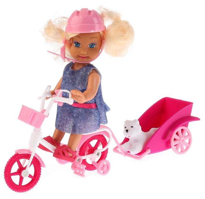 Кукла Карапуз Машенька с велосипедом и питомцем,