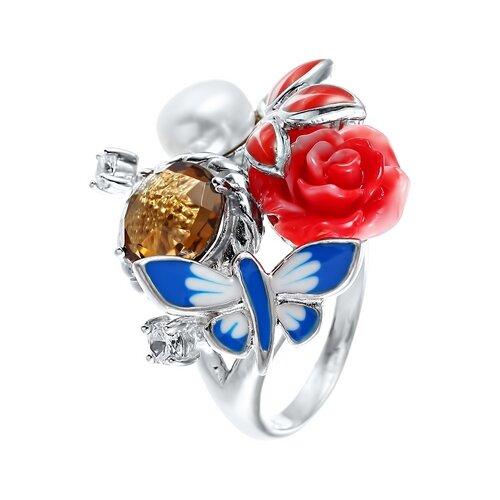 JV Серебряное кольцо с жемчугом, цитрином, фианитом, эмалью SE2237-R-KO-CT-WP-CI-ENAM-001-WG, размер 17