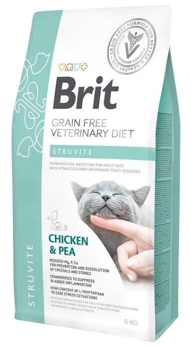 Корм для кошек Brit Veterinary Diet при лечении МКБ, беззерновой, с курицей и с горошком