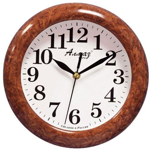 Часы настенные кварцевые Алмаз P14-P25 коричневый/белый
