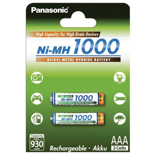 Фото - Аккумулятор Ni-Mh 1000 мА·ч Panasonic Rechargeable Accu AAA 2 шт блистер аккумулятор ni mh 1000 ма·ч gp rechargeable 1000 series aaa usb светильник 4 шт блистер