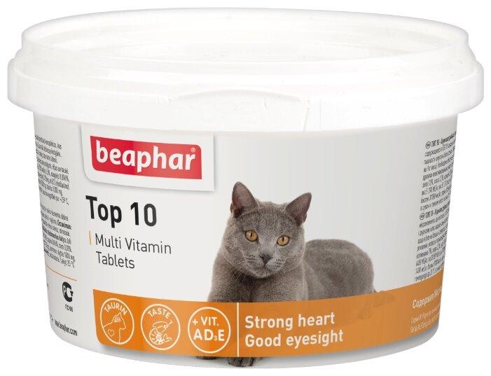 Витамины и лакомства Beaphar Top 10 Мультивитамины для кошек с таурином и L-карнитином 180 шт., 50 гр