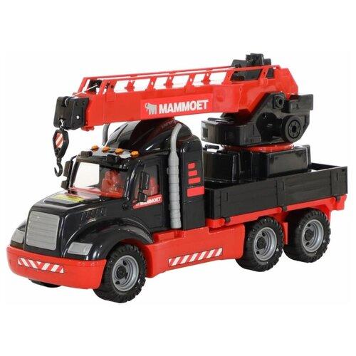 Купить Автокран Полесье 205-02 MAMMOET с поворотной платформой в коробке (56832) 53 см черный/красный, Машинки и техника