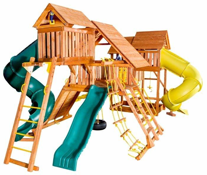 Спортивно-игровой комплекс Playgarden Mega SkyFort с двумя игровыми домиками и переходом