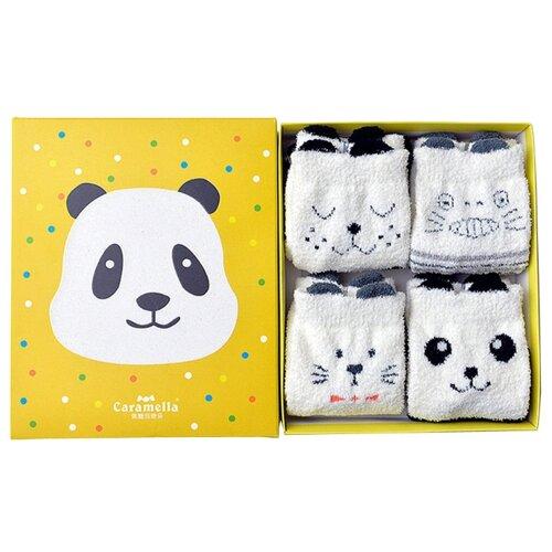 Носки Caramella Панда, 4 пары, размер 22-25, черный/белый/серый