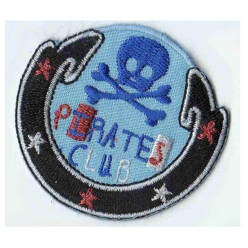 Термоаппликация HKM Эмблема пиратский клуб круглая, 1 шт 5 х 5,5 см