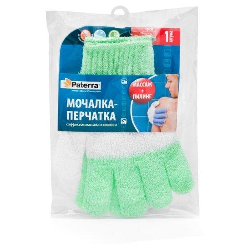 Мочалка Paterra перчатка 12х18 см (408-009) зеленый/белый