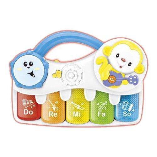 Купить TONG DE пианино Е-нотка T370-D5248 голубой/белый/желтый, Детские музыкальные инструменты