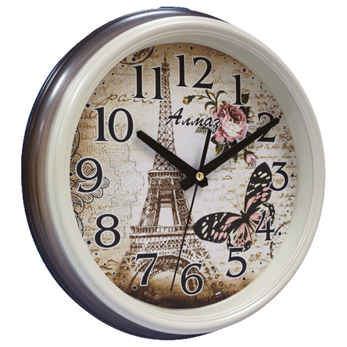 Часы настенные кварцевые Алмаз A100 коричневый/бежевый