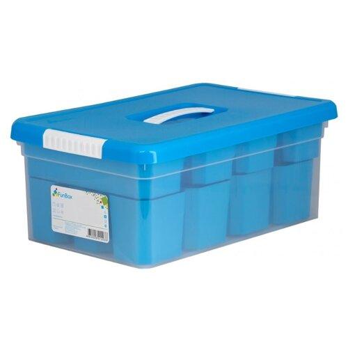 FunBox Ящик-органайзер 10 л Standart, 12 вставок S и 2 лотка S прозрачный/синийКорзины, коробки и контейнеры<br>