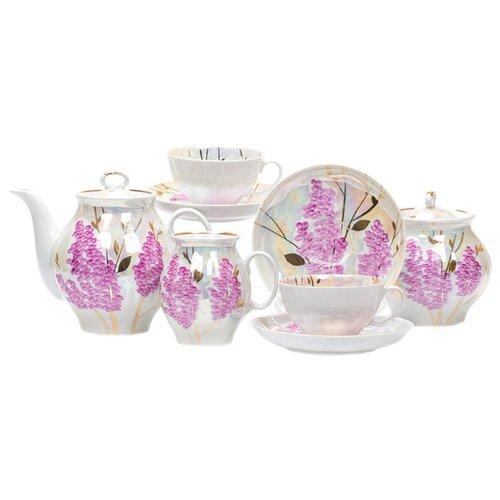 Чайный сервиз Дулёвский фарфор Белый лебедь Розовая сирень 15 предметов с136Сервизы<br>