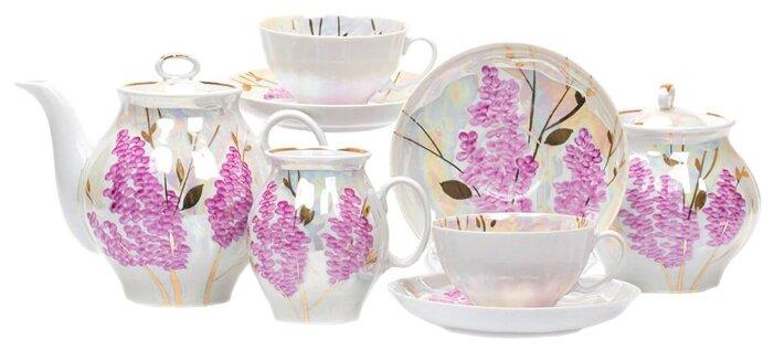 Чайный сервиз Дулёвский фарфор Белый лебедь Розовая сирень 15 предметов с136